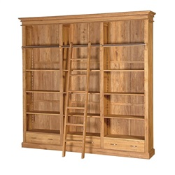 Manhattan Oak Library Bookcase with Ladder