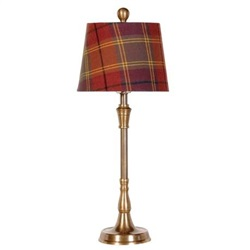 Brass Lamp with Red Tartan Shade