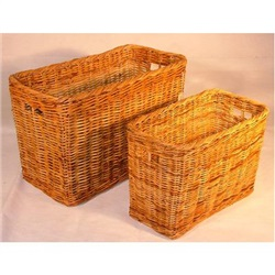 Large Tall Oblong Rattan Log Baskets