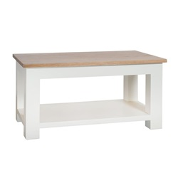 Cream Painted Coffee Table with Shelf and Oak Top