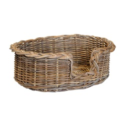 Small Grey Oval Dog Basket