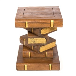Medium Book Stack Table Waxed and Gold
