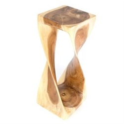 Extra Large Single Twist Wooden Stool Clear