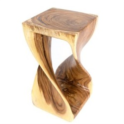 Large Single Twist Wooden Stool Clear