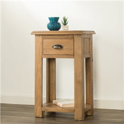 Hartford Oak Small Console Table with 1 Drawer and Shelf