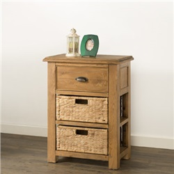 Hartford Oak Small Console Table with 1 Drawer and 2 Baskets