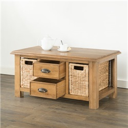 Hartford Oak Coffee Table with 2 Drawers and 2 Baskets