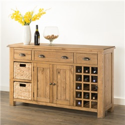 Hartford Oak Large Sideboard with Wine Racks and Baskets