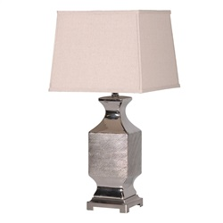 Silver Patterned Table Lamp and Shade