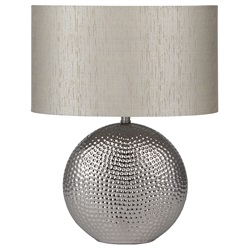 Chrome Hammered Ceramic Table Lamp