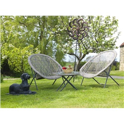 Faux Rattan Folding Garden Lounging Set - Grey