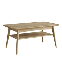 Hudson Oak rectangular coffee table with shelf