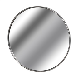 Large Circular Silver Wall Mirror