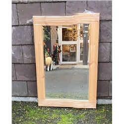 "3 1/4"" Pine Frame Bevelled 30"" x 20"" Wall Mirror"
