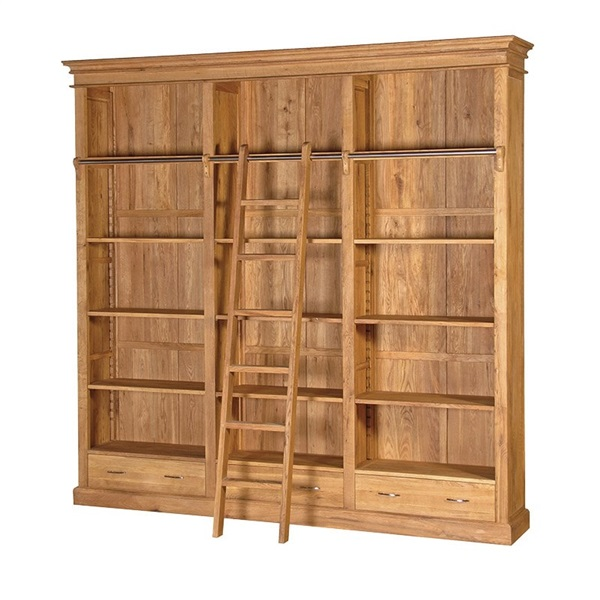 Brooklyn Oak Library Bookcase with Ladder