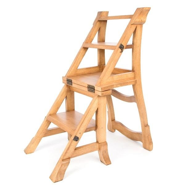Accent Rubberwood Folding Step Chair - Light