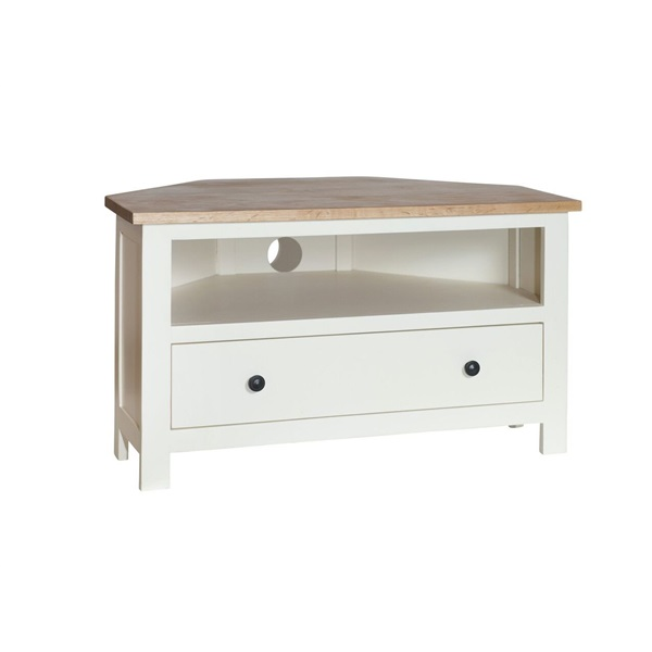 Cream Painted Corner TV Unit with Oak Top