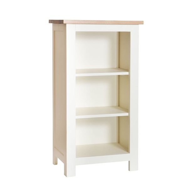 Cream Painted Small Bookcase with Oak Top