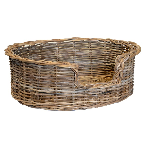 Medium Grey Oval Dog Basket