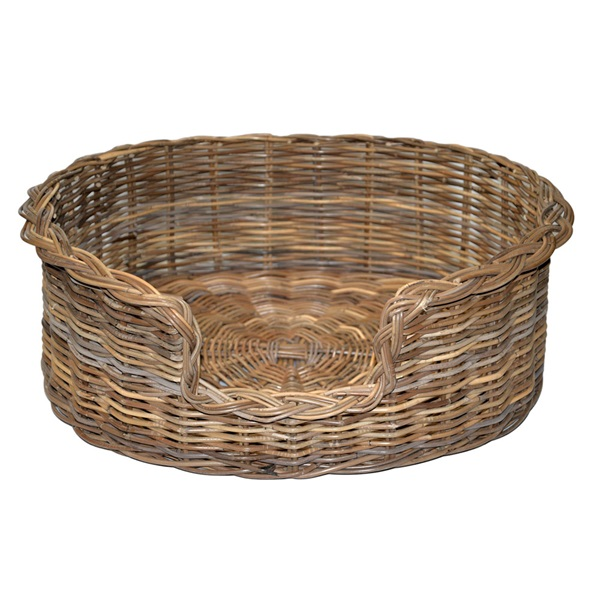 Large Grey Oval Dog Basket