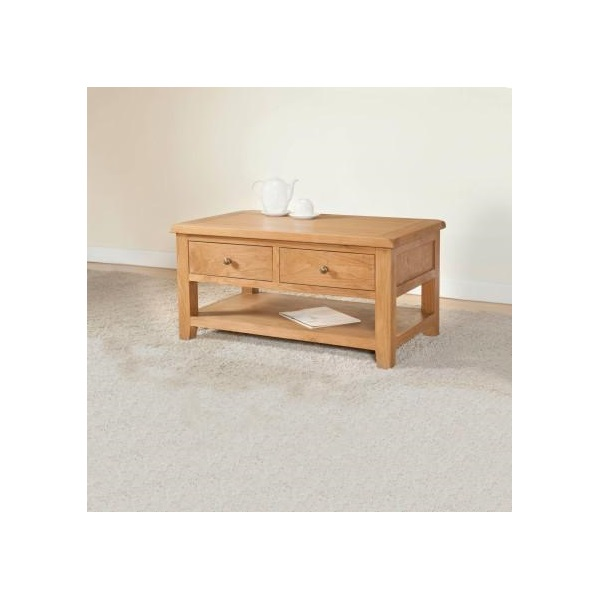 Shrewsbury Oak Coffee Table With 2 Drawers
