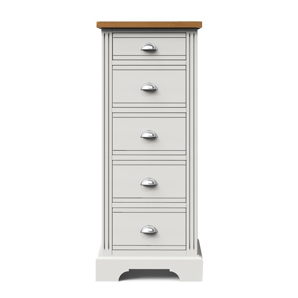 Hampton Court Grey Pianted 5 Drawer Narrow Chest
