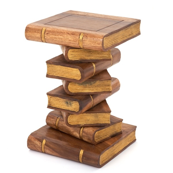 Large Book Stack Table Waxed & Gold