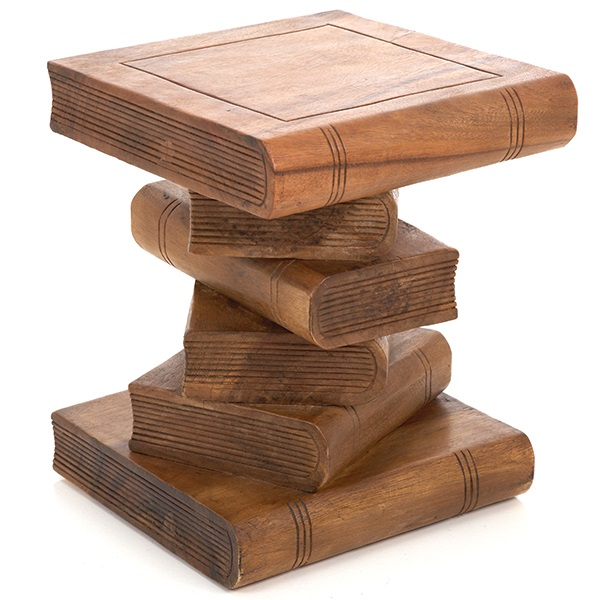 Medium Book Stack Table Waxed