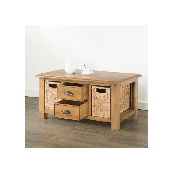 Hartford Oak coffee Table with 2 Drawers & 2 Baske