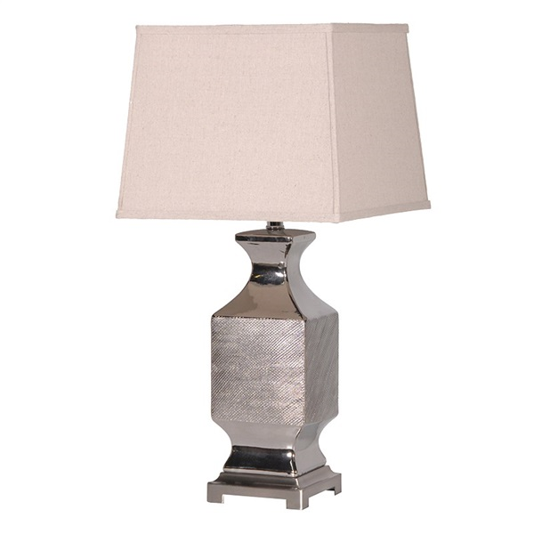 Silver Patterened Table Lamp with Shade