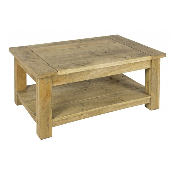 Mango Wood Coffee Table with Shelf