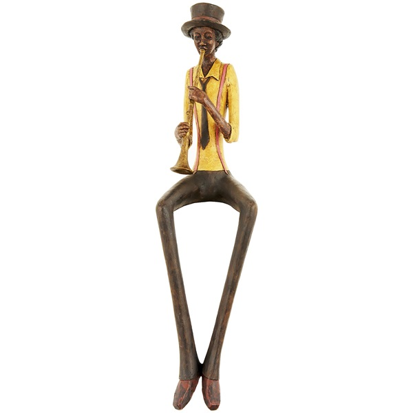 Resin Sitting Jazz Band Trumpeter Figurine