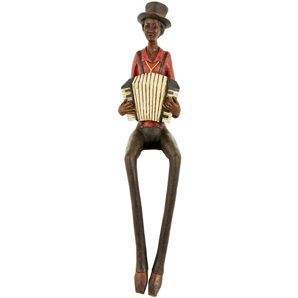 Resin Sitting Jazz Band Squeeze Box Figurine