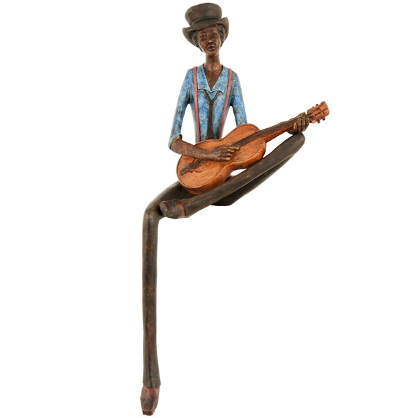 Resin Sitting Jazz Band Guitar Player Figurine