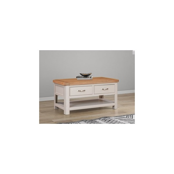 Chatsworth Grey Painted Coffee Table with 2 Drawer