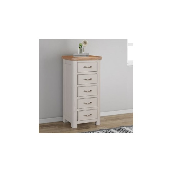 Chatsworth Grey Painted Tall Chest with 5 Drawers
