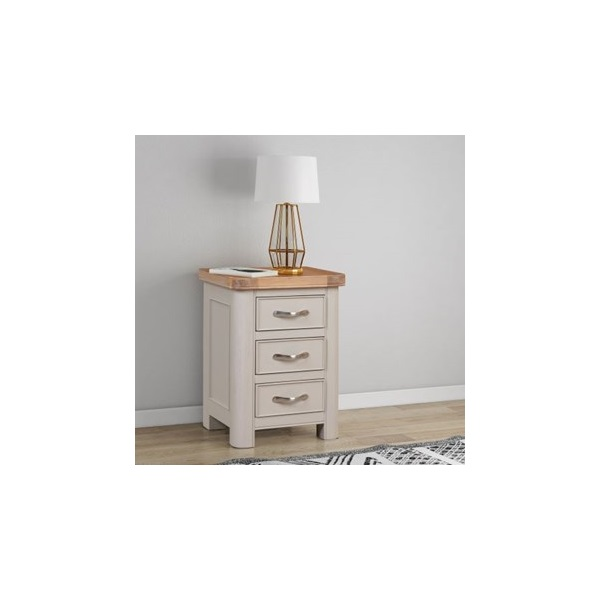 Chatsworth Grey Painted Bedside Chest with 3 Drawe