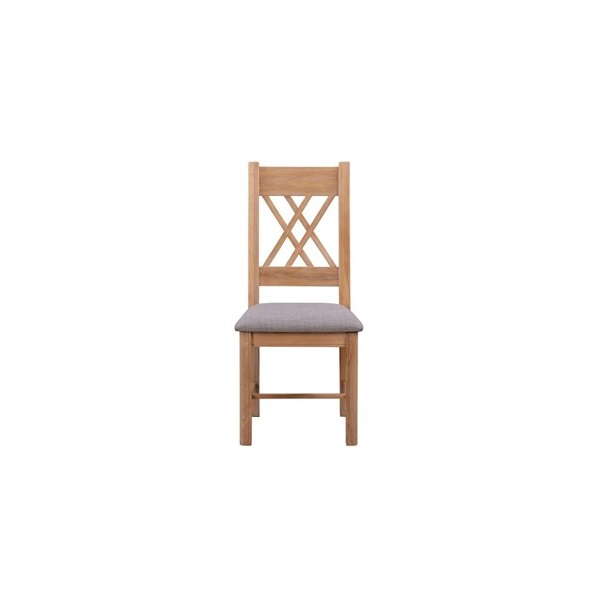 Chatsworth Oak Chair with Grey Fabric Seat