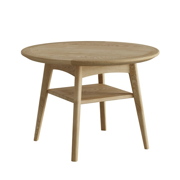 Hudson oak round coffee table with shelf