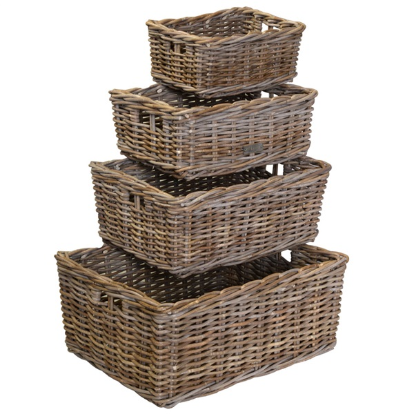 Large Oblong Grey Rattan Storage Basket