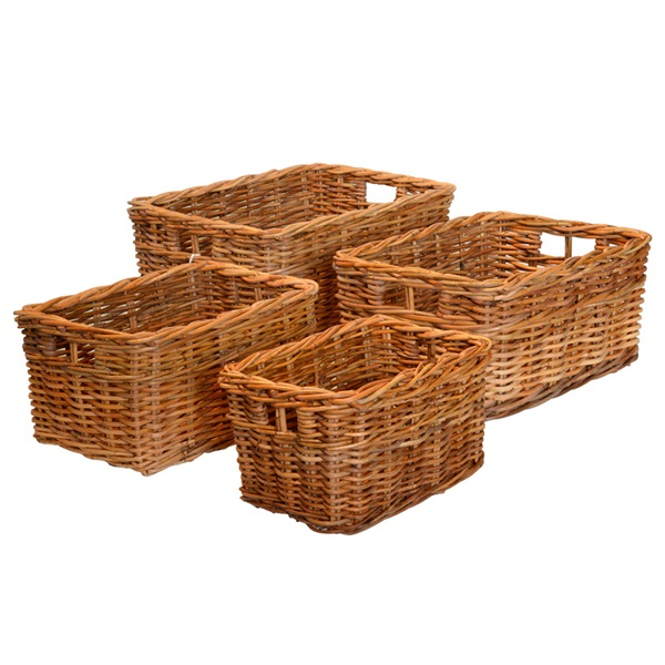 Extra Small Oblong Rattan Storage Basket