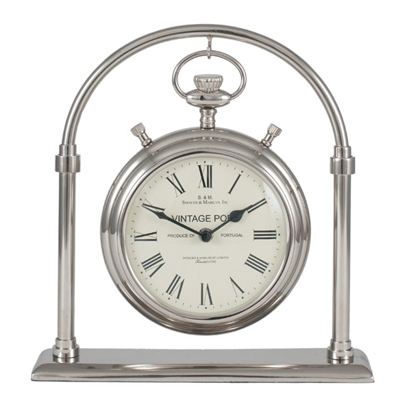 Shiny Nickel & Glass Carriage Clock